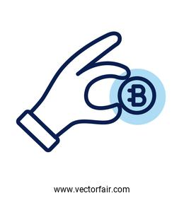 hand with bitecoin crypto currency line style icon