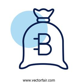 sack with bitecoin crypto currency line style