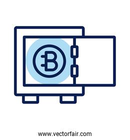 bitecoin in safe box crypto currency line style icon