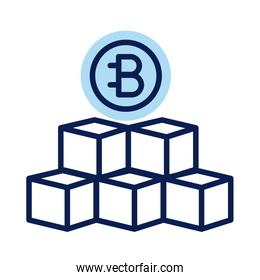 bitecoin with blocks crypto currency line style