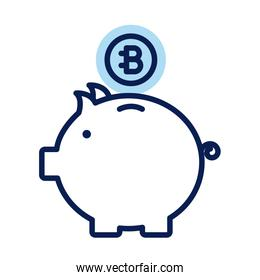 piggy with bitecoin crypto currency line style