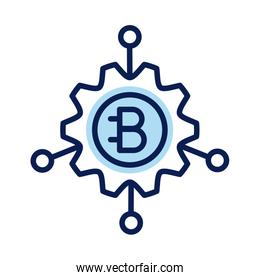 bitecoin in gear crypto currency line style