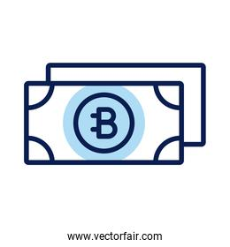 bitecoin bills crypto currency line style icon