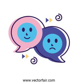 speech bubbles with emojis mental health flat style