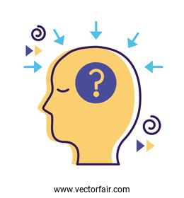 profile with question symbol mental health flat style