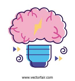 bulb with brain mental health flat style icon