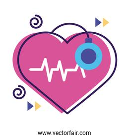 heart cardio with stethoscope flat style icon