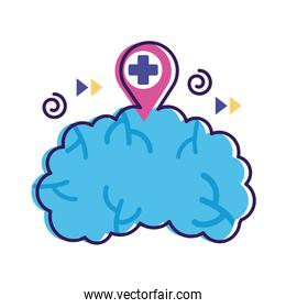 brain with pin and cross mental health flat style