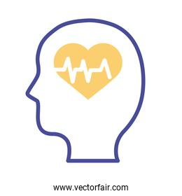 profile with heart cardio mental health line style icon