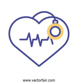heart cardio with stethoscope line style icon