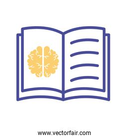 brain in book mental health line style icon