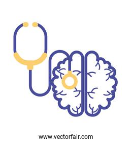 brain with stethoscope mental health line style