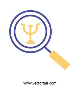 magnifying glass with symbol mental health line style