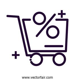 shopping cart with percentage line style icon