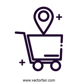 shopping cart with location tag line style icon
