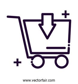 shopping cart with arrow line style icon