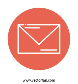 letter in envelope block and flat style icon