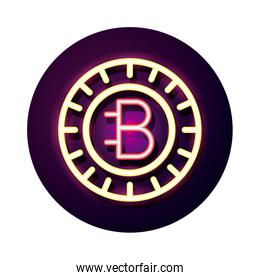 bitecoin crypto currency neon style icon