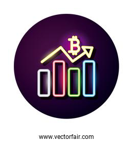 bitcoin with statistics bars crypto currency neon style icon