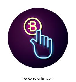 hand index bitecoin crypto currency neon style