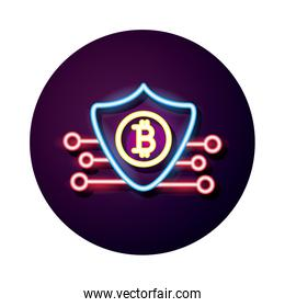 shield with bitcoin crypto currency neon style icon
