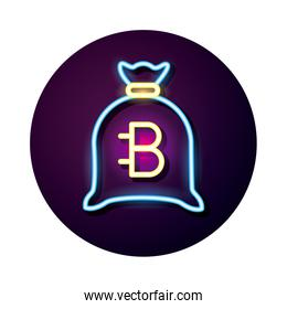 sack with bitecoin crypto currency neon style