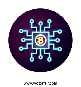 bitecoin with circuit crypto currency neon style