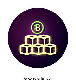 bitecoin with blocks crypto currency neon style