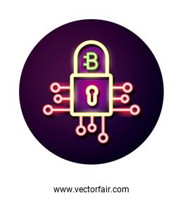 bitecoin with padlock crypto currency neon style