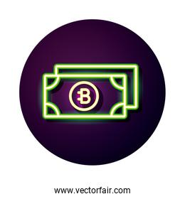 bitecoin bills crypto currency neon style icon