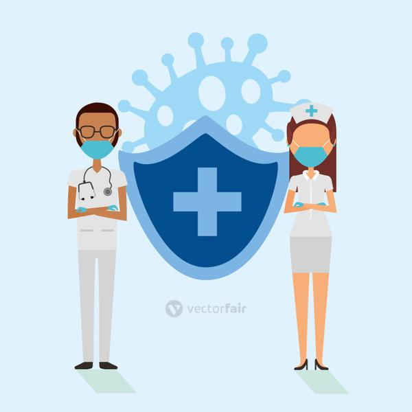 doctors couple with face masks and shield