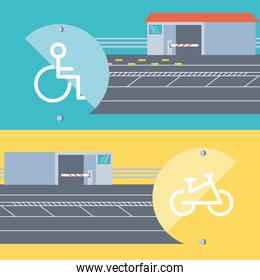 entrance of disable people and bicicles parking zone
