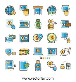 bundle of online banking set icons