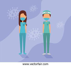 doctors couple with face masks and covid19 particles
