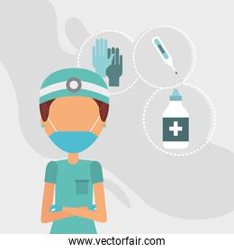 doctor with face mask and set icons