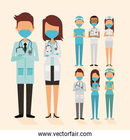 medical staff with face masks characters