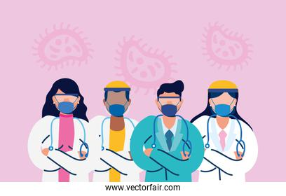 medical staff with face masks and covid19 particles