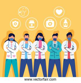 medical staff with face masks and set icons