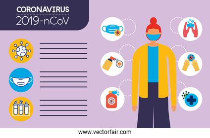 covid19 pandemic infographics with woman using face mask