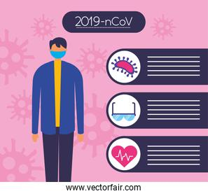 covid19 pandemic infographics with man using face mask