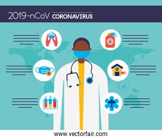 covid19 pandemic infographics with doctor