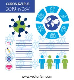 covid19 pandemic infographics with population statistics
