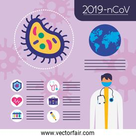 covid19 pandemic infographics with earth planet and doctor