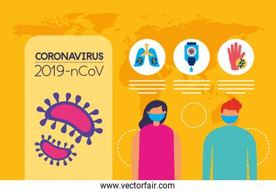 covid19 pandemic infographics with couple using face masks