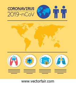 covid19 pandemic infographics with earth planet
