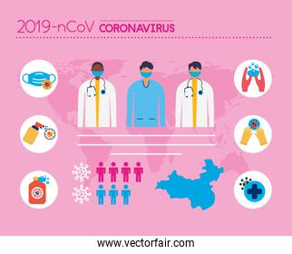 covid19 pandemic infographics with doctors