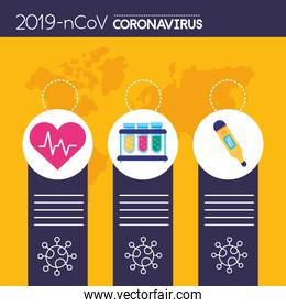 covid19 pandemic infographics with set icons