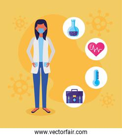 female doctor using face mask with covid19 set icons