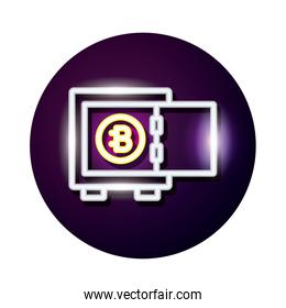 bitecoin in safe box crypto currency neon style icon