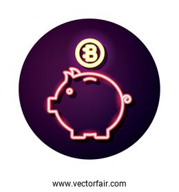 piggy with bitecoin crypto currency neon style